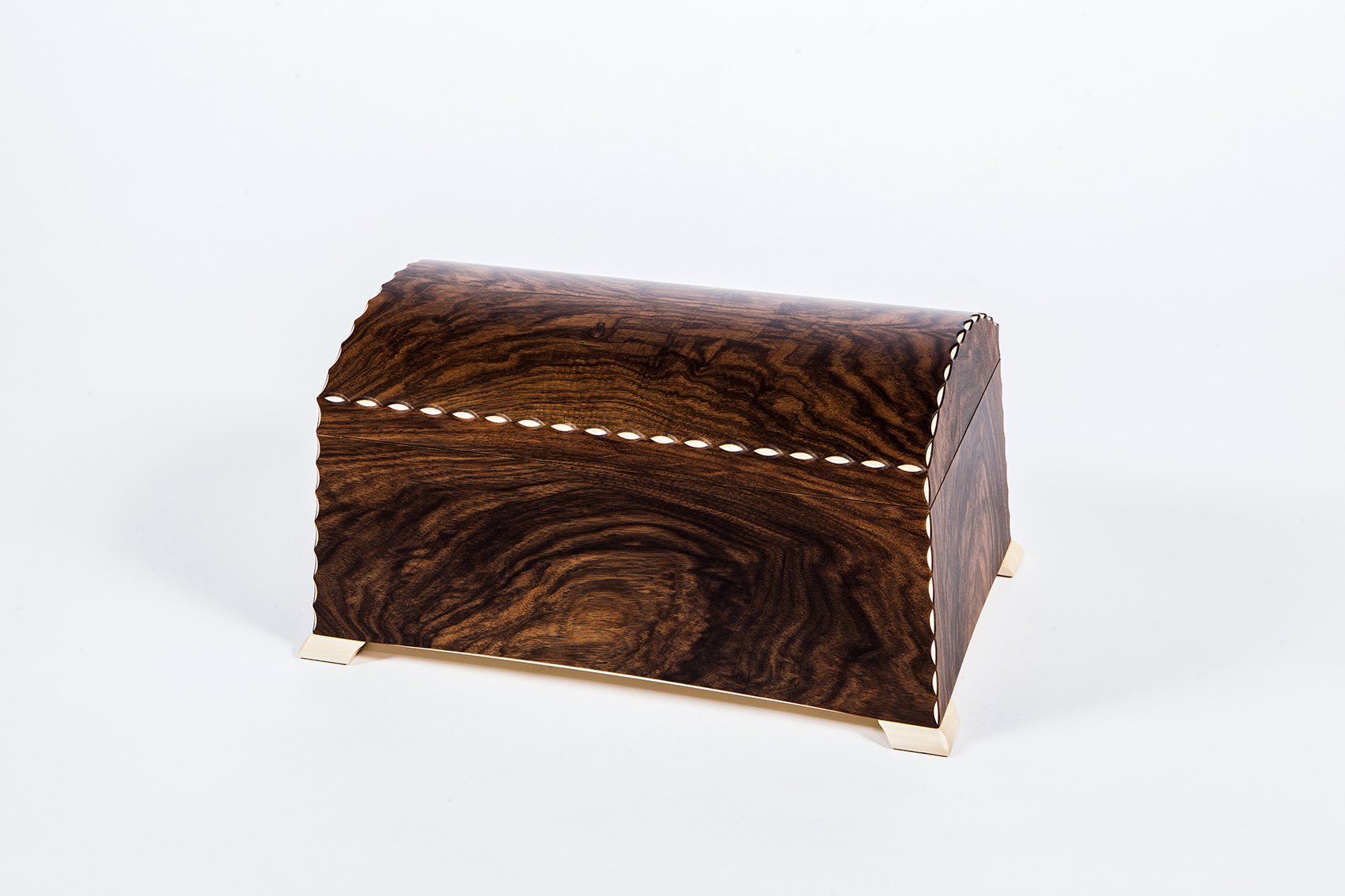 A jewellery box made from the clients' walnut tree