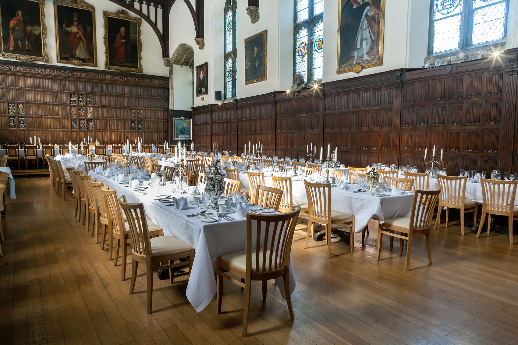 Barnsley Workshop chairs in the dining hall, Magdalen College, Oxford