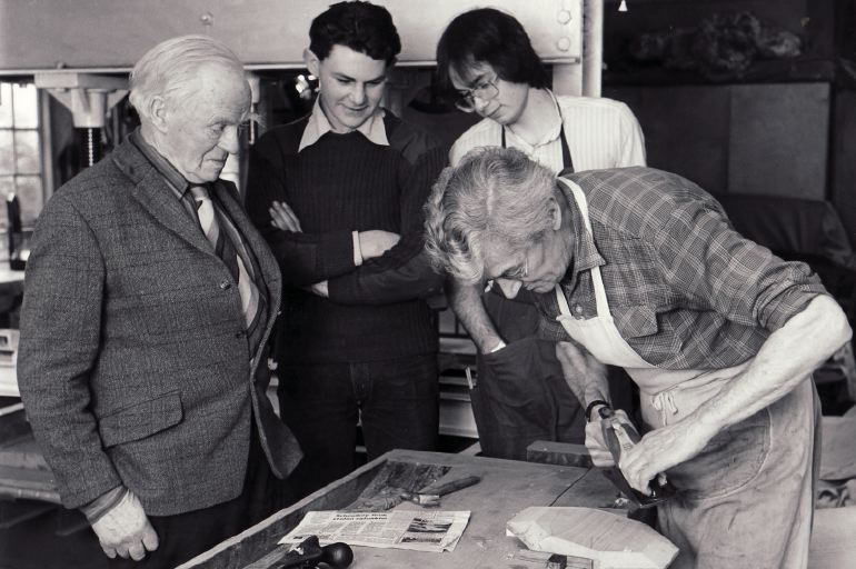 The first day of the Trust's apprenticeship scheme in January 1981. Left to right: Edward Barnsley, Giles Garnham, Colin Eden-Eadon, George Taylor.
